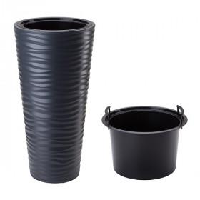 Кашпо для цветов Prosperplast Sand Slim 18+45л, антрацит