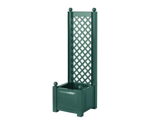 Ящик для цветов KHW 44л с шпалерой 140см, зеленый