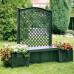Садовая скамейка KHW Копенгаген с шпалерой 139см и ящиками для цветов 2х44л, зеленый (2 кор)