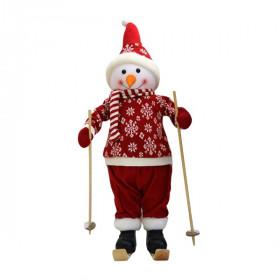 Снеговик на лыжах в красном костюме 66 см