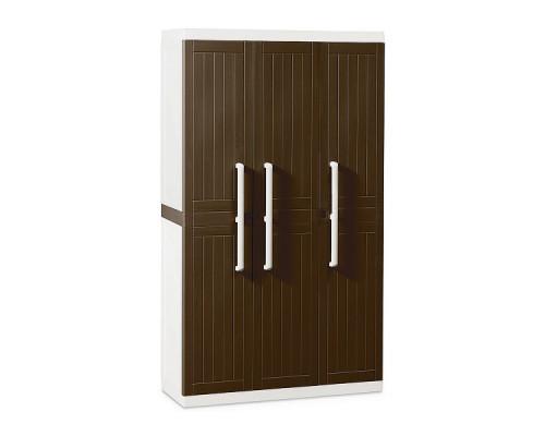 Шкаф пластиковый Toomax Wood Line S узкий 3 двери 4 полки коричневый