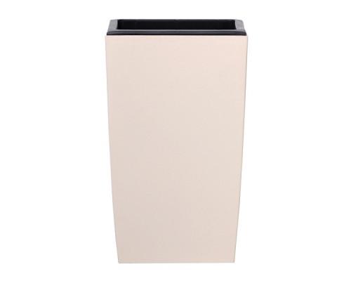 Кашпо для цветов Prosperplast Coubi Square High 19+30л, кремовый