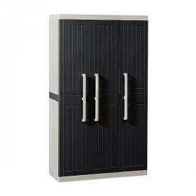 Шкаф пластиковый Toomax Wood Line S узкий 3 двери 4 полки антрацит