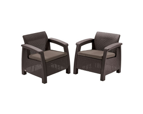 Кресла садовые Keter CORFU II DUO brown 2 шт